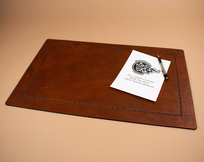 Desk Pad with Tooled Border in Full Grain Leather