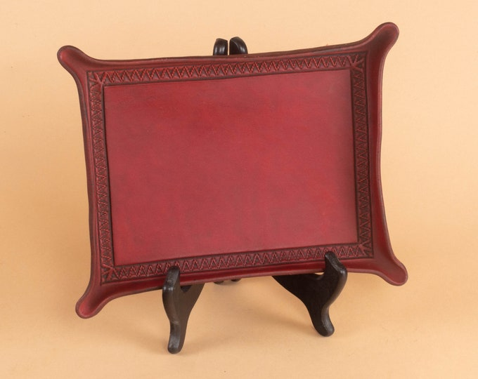 Red Leather Valet Tray with Zig Zag Border - Ready to Ship