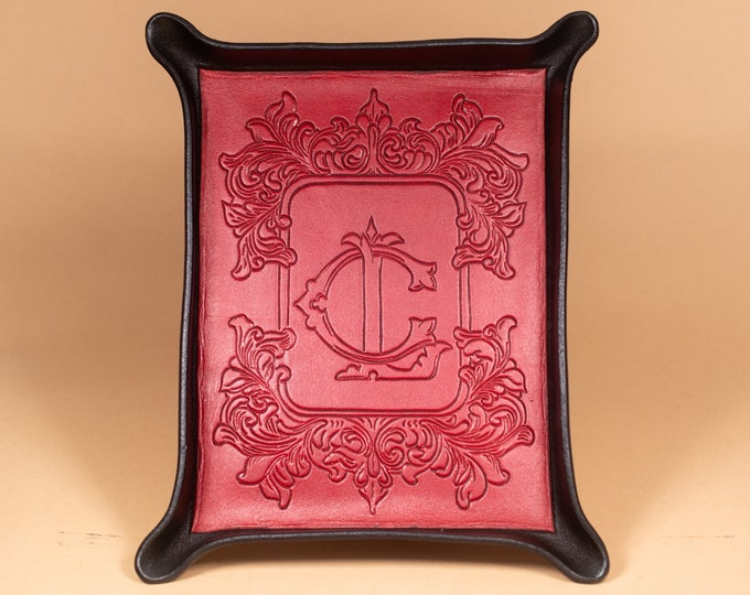 Engraved Leather Tray with Victorian Floral Bordered Monogram