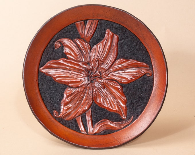 Leather Dish Engraved with Tiger Lily