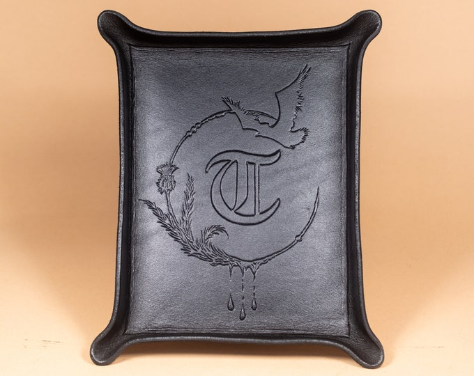 Tray engraved with Gothic Style Monogram and Border