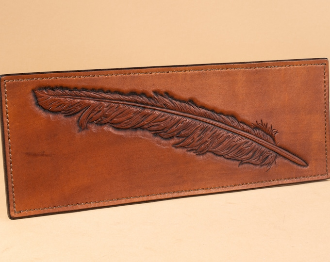 Single Feather - Leather Low Relief Engraving