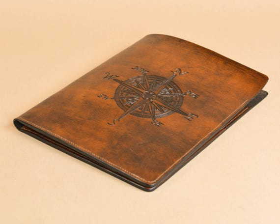 Nautical Compass Carving - Leather Folder - Document Carrier - Presentation Folder