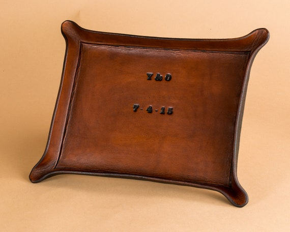 Third Anniversary Gift - Personalized Leather Tray with Date and Initials - Leather Valet - Catchall