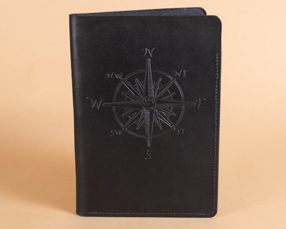 Nautical Compass Carving - Leather Folder - Document Carrier - Presentation Folder