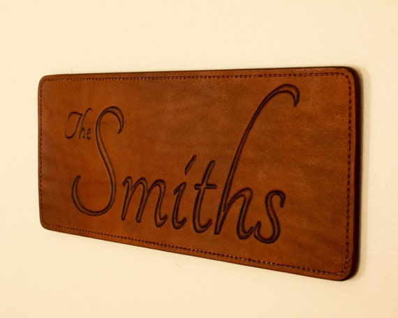 Family Name Leather Wallhanging Piece - Custom Engraving