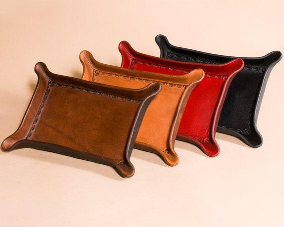 Bordered Leather Valet Tray for Dresser or Desk