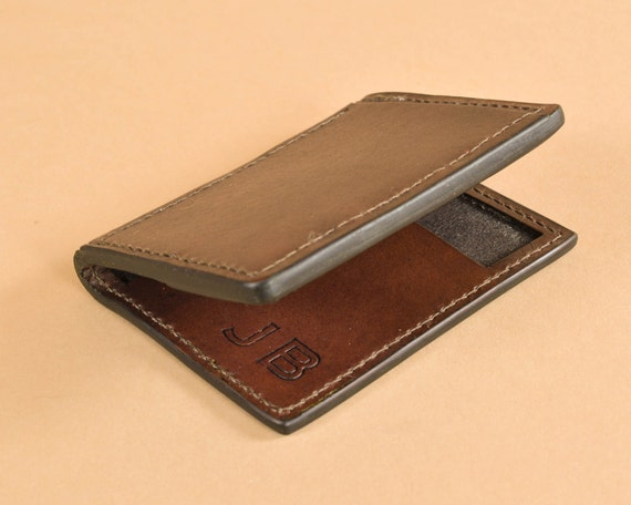 Thin Leather Wallet - Vertical Bifold in Full Grain Leather - Front Pocket Wallet