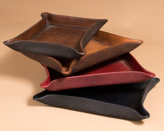 Leather Valet Tray - Catchall - Caddy - Change Dish - Rectangular - Ready to Ship