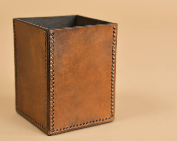 Leather Pen Cup - Leather - Dice Cup - Leather Pencil Holder - Leather Desk Cup