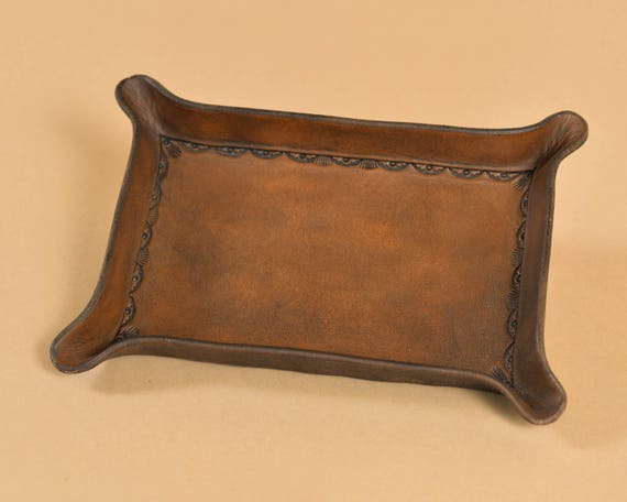 Bordered Leather Valet Tray for Dresser or Desk