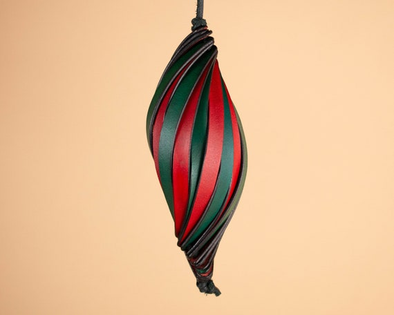Spiral Bauble Christmas Ornament in Full Grain Leather
