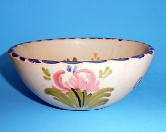 TALAVERA SPAIN Pottery BOWL Soup Cereal Signed Vintage Clay Floral Handmade Spanish Cuenco Cerámica Vendimia Hand Painted