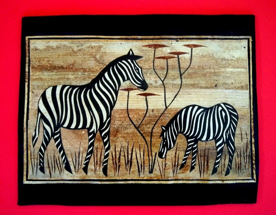 Zebra Wall Art African Landscape Art Zebras Artwork on Metal