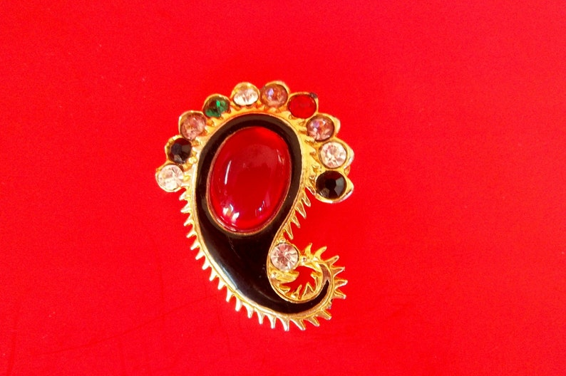 27992f1d0 VINTAGE PAISLEY BROOCH Gold Tone Antique Green Amber Clear | Etsy