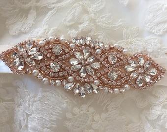 Wedding Sash Belt, Bridal Sash Belt - Crystal Sash Belt pearls and crystals rose gold sash