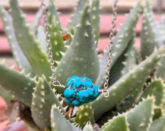THE TURQUOISE CHUNK Necklace //  Petite turquoise chunky stone on Antique Silver Chain // Boho Festival Wear // Layering Necklace