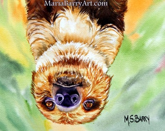 Luke: A print of an Original Watercolor of a Sloth, called Luke.