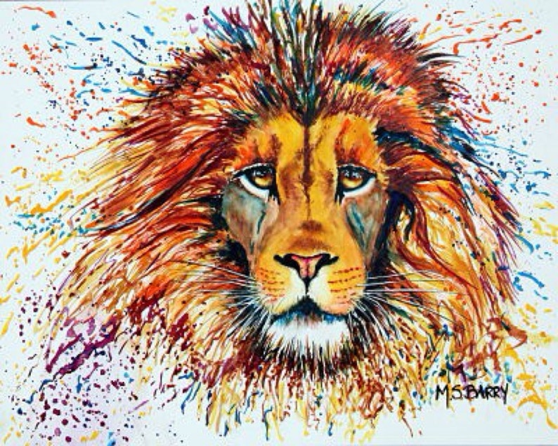 3f51b32a12ba Male Lion's Head, Watercolor Painting of an African Lion Called