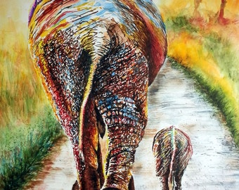"""Elephant painting of mother and baby elephant. Watercolor Print from an Original piece of Artwork called """"Are We There Yet?"""""""
