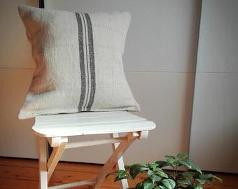 Vintage Authentic Grain Sack Pillow Cover / Antique linen / Gray Stripes / Handwoven fabric /Handmade Grainsack Pillow Sham