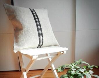 Vintage Authentic Grain Sack Pillow Cover / Antique linen / Black Stripes / Handwoven fabric /Handmade Grainsack Pillow Sham