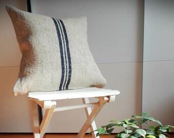 Vintage Authentic Grain Sack Pillow Cover / Antique linen / Navy Blue Stripes / Handwoven fabric /Handmade Grainsack Pillow Sham