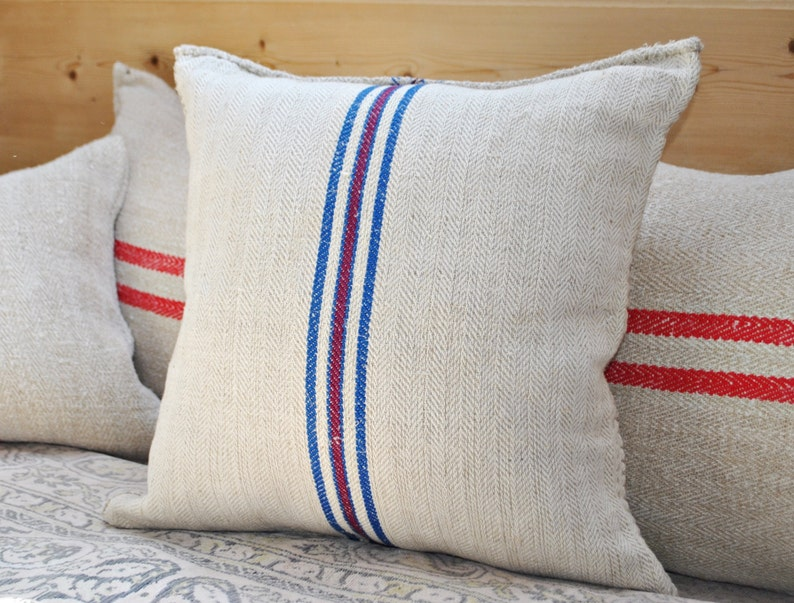 Vintage Authentic Grain Sack Pillow Cover / Handwoven hemp and image 0