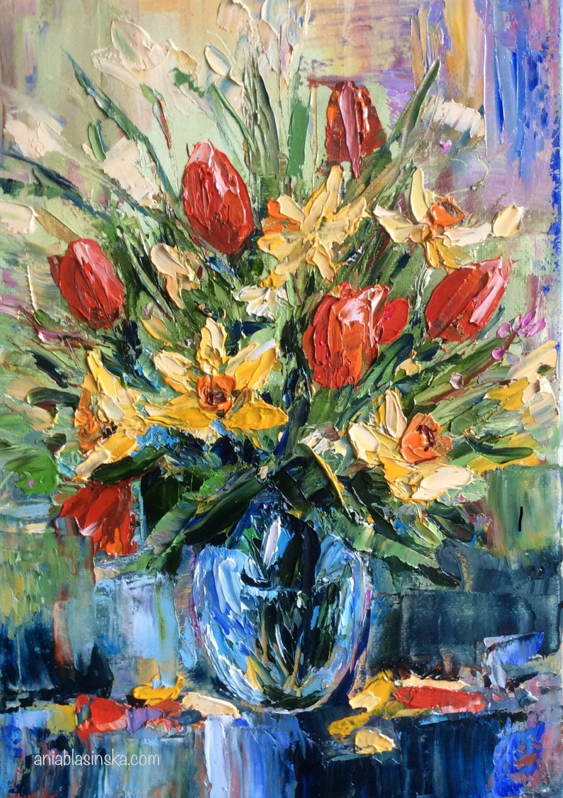 Spring Flowers Bouquet. Original Oil Painting on Canvas. image 0