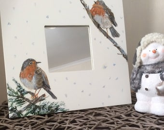 Hand painted mirror frame with a lovely robins. Square 20cm x 20cm.