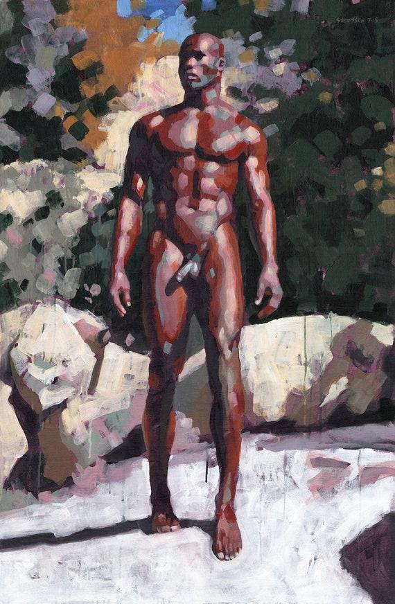 Nude African American Man Stock Photo