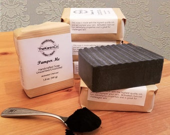 Charcoal Soap, Unscented Soap, Face Soap, Activated Charcoal, All Natural Soap, Handmade Soap, black soap, bath and beauty, Handcrafted soap