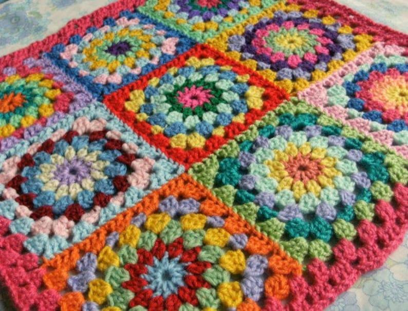 Granny Circle Crochet Cushion Cover Pattern Pdf Diy 1 Pattern Etsy