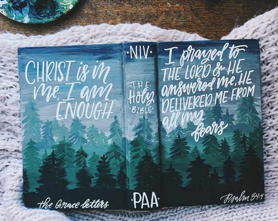 Hand painted bible for men, Father's Day gift, custom bible art, scripture gift, bible journaling, personalized gift for him, for husband