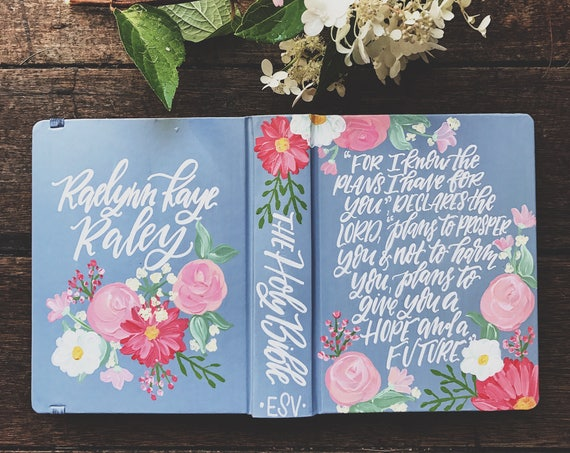 Floral hand painted bible,  personalized christmas gift, custom painted bible cover, bible journaling, The Holy Bible, gifts for Christians,