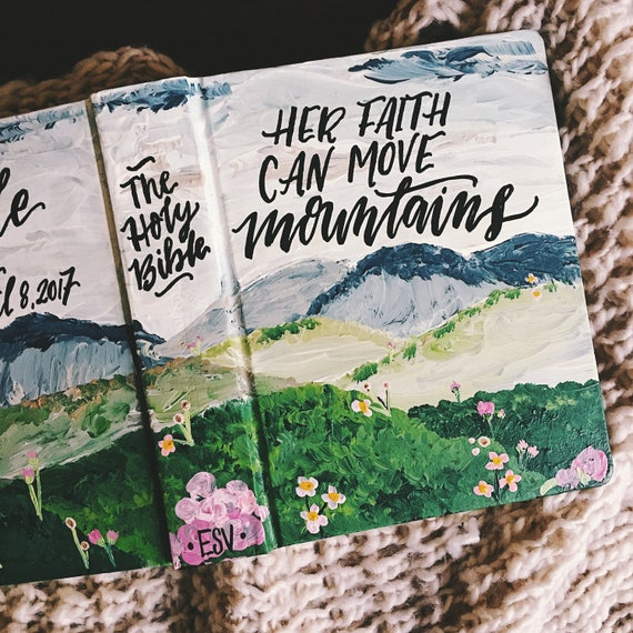 Landscape painted bible cover for her, mother's day gift, hand painted mountain bible art, personalized journaling bible, easter gift
