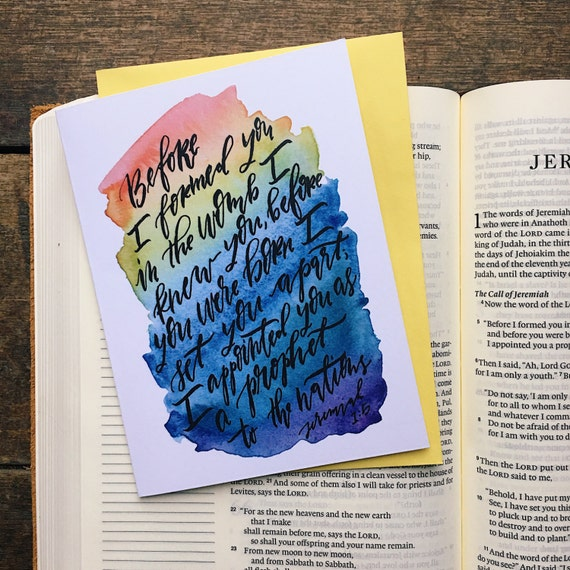 New baby card, rainbow baby, card for expecting mother, scripture card, Before I formed you in the womb, Jeremiah 1:5, adoption card