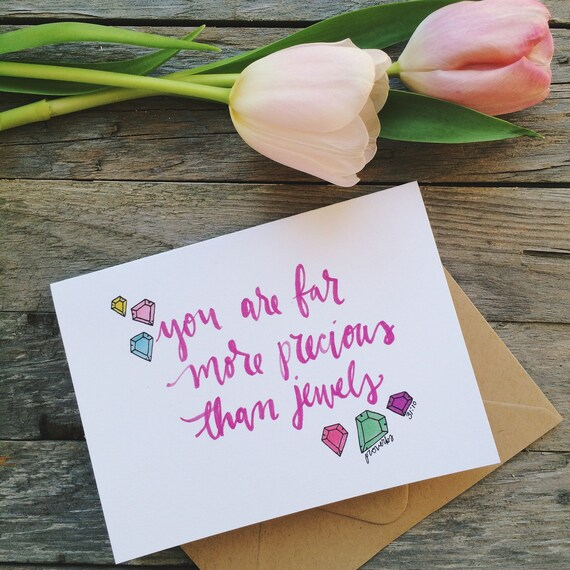 Scripture card for mom, mothers day card, proverbs 31, you are more precious than jewels, encouragement card