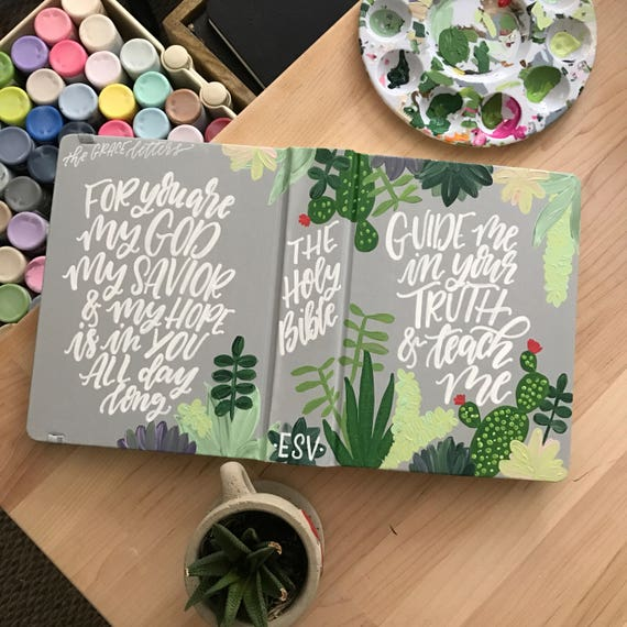 Hand painted bible, custom bible cover, succulent design, personalized scripture gift, bible journaling,The Holy Bible, gifts for Christians