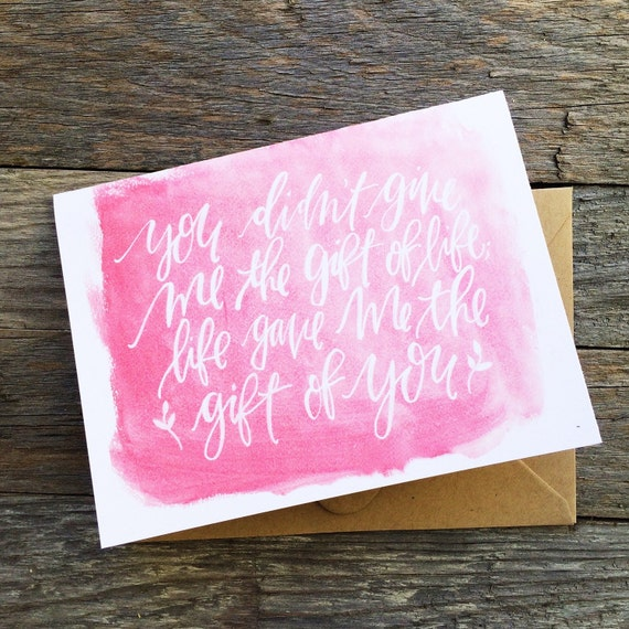 Stepmom Mother's Day card, stepmother, adoptive mother card, life gave me you pink watercolor, card for stepmom, card for aunt