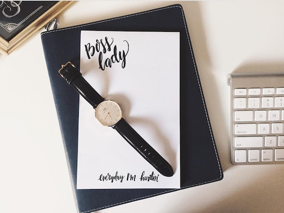 Co worker gift,Boss lady notepad, gift for work friend, everyday I'm hustlin', hustle, business owner gift, stationery gift, encouragement