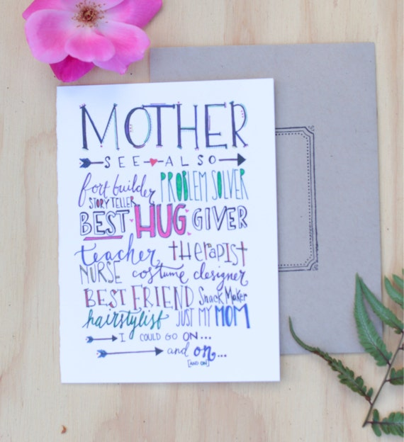 Sweet Mother's Day card, celebrate your mother, hand lettered, colorful, not just my mother also my best friend, mother of the bride