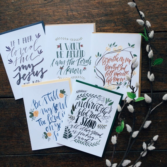 Hymn Card collection for Advent featuring 5 different classic hymns, Christmas cards, scripture cards, bible journaling accessories, hymns