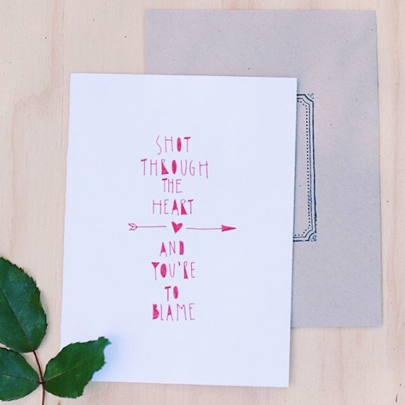 Funny Valentine's Day card, anniversary card, hand lettered Bon Jovi quote, hipster valentine