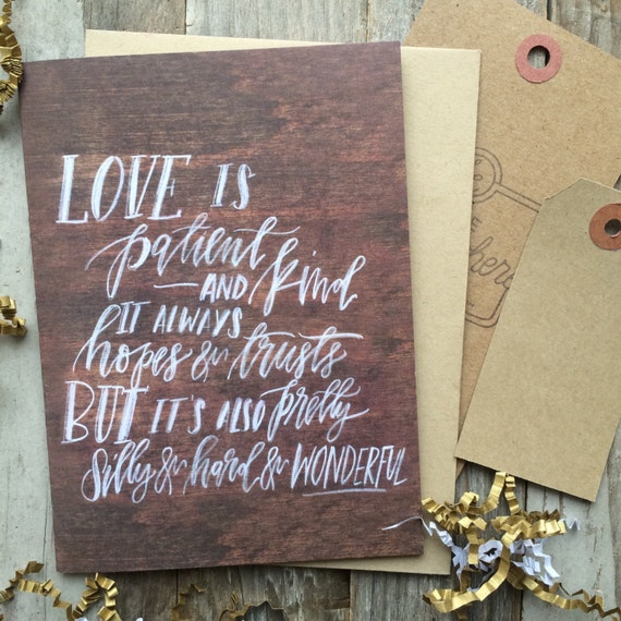 Scripture love card for Christians, love is patient, 1 Corinthians 13, rustic chalkboard look card, cards for lovers, husband wife card