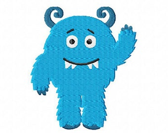 4X4 Blue Fuzzy Monster Machine Embroidery Design Multiple Formats Available - Instant Download