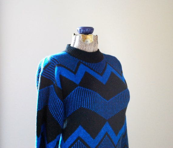 Sparkly electric blue chevron sweater