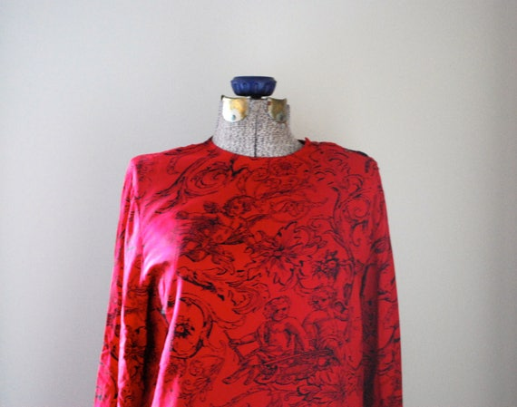 100% Silk Red Cherub patterned Blouse