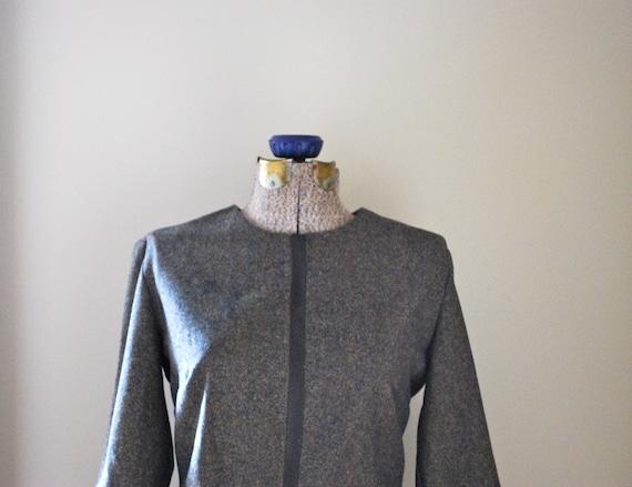 Brown tweed belted dress