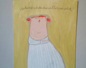 "Acrylic painting on Malpappe, ""Schmöschte.."", Funny Portrait"